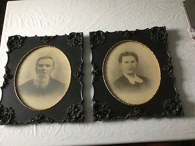 TWO UNIQUE BEAUTIFUL ANTIQUE MATCHING Victorian Picture Frames w/ Old Pictures