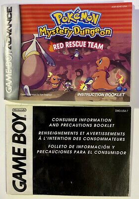 Pokemon Mystery Dungeon: Red Rescue Team Nintendo Game Boy Advance GBA Manuals