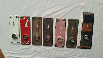 7  Antique Metal Door Plates Lot- Key Hole - Salvage-Crafts