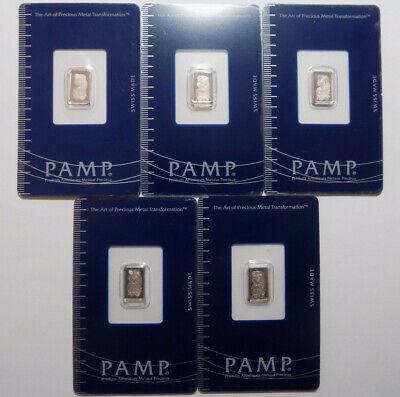 Lot of 5 PAMP Suisse Lady Fortuna 1 grams .9995 fine platinum bar