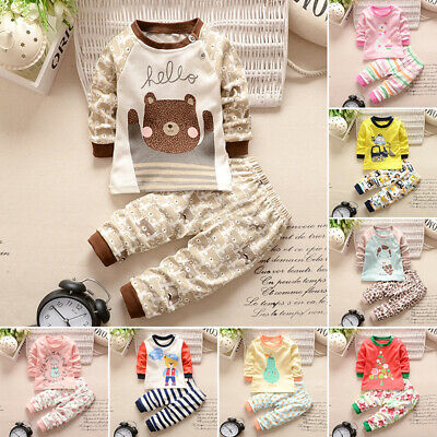 Newborn Super Cute Infant Baby Unisex Kids Long Sleeve Round Neck Warm Tops+Pant