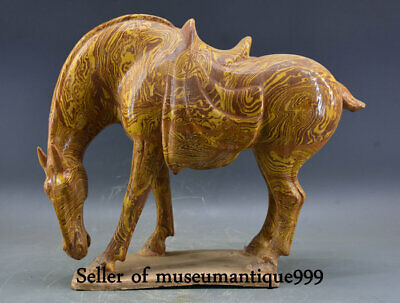"""18"""" Old Chinese Porcelain Pottery Dynasty Tang Horse equine Statue Sculpture"""