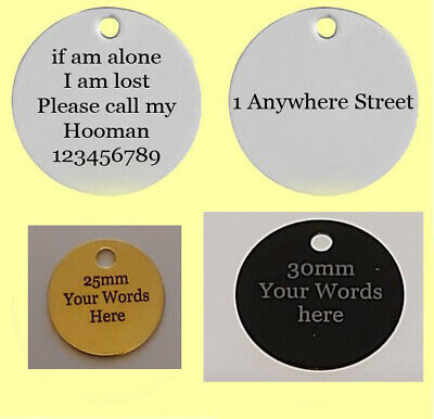 Personalised Deep Engraved Dog Cat Pet Tag ID Collar Tags Double sided Pets name