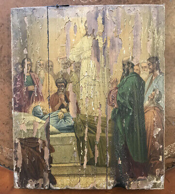 Antique Russian Icon Painted On Wood