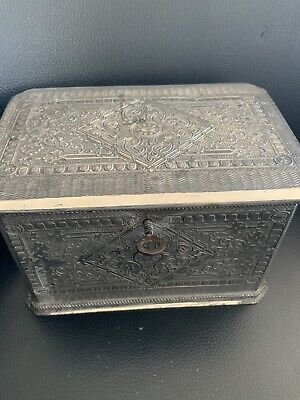 Brittania Metal Tea Caddy With Key  Victorian William Wheatcroft Harrison