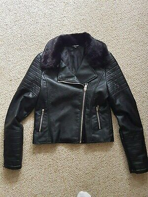 Faux Leather Bikers Fashin Jacket / Fur Collar / Biker Chic / Age 14