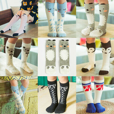 Cartoon Animals Child Kids Knee High Socks Cotton Stocking Leggings Cute