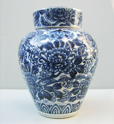 Chinese blue and white jar and cover painted with paeony blossom Qing
