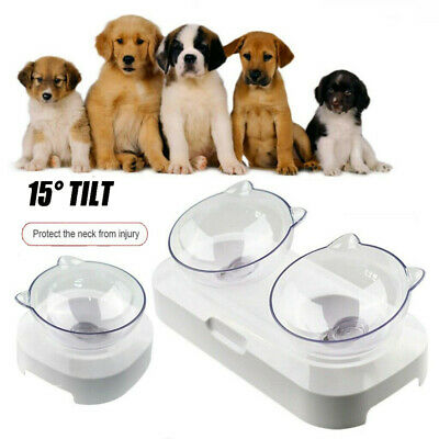 Food Bowl With Stand Cat Dog Water Bowl Pet Feeding Container 15° Tilt White UK~