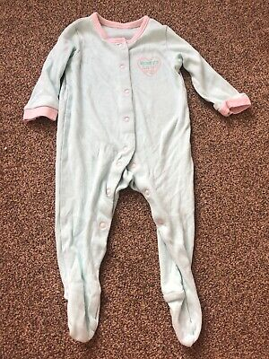 George mint green long sleeved mummy babygrow baby girls 3-6 months