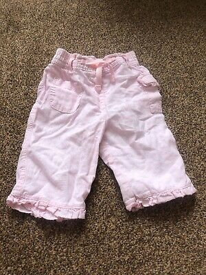 Next pink linen blend ruffle detail trousers baby girls 0-3 months clothes