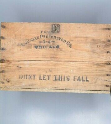 Vintage Antique Cummins Perforator Co CHICAGO Heavy Wooden Shipping Crate