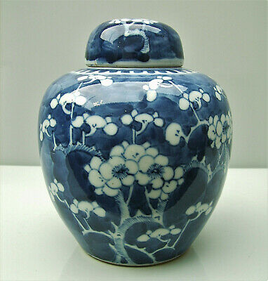 Chinese blue and white porcelain prunus jar and cover