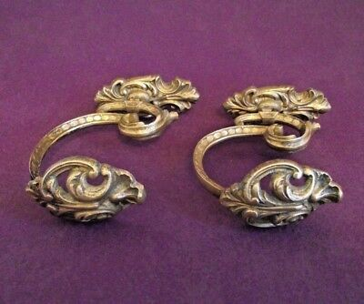 Pair Antique 19th Century French Rococo Cast Bronze Ornate Tie Back Hooks 1013