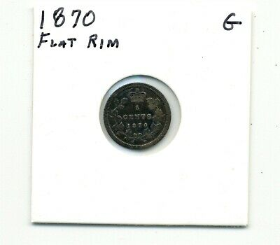 Coins. Canada. Five Cents. 1870 Flat Rim Good