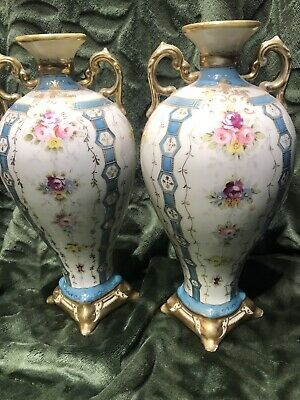 Vintage Japanese 'L&Co Nippon' Pair Of Floral Vases Bought In 1940's