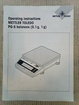 Operating Instructions / Manual For Mettler Toledo Pg-S Precision Balances Guide