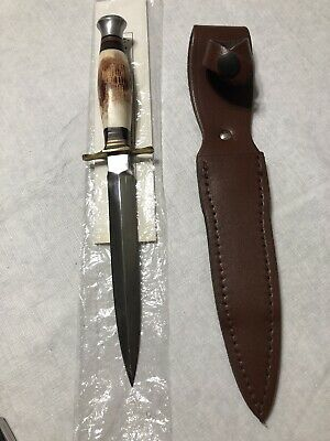 "J. Nowell & Sons Shefield England 6"" dagger with stag antler handle with sheath"