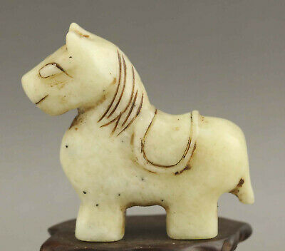Chinese old natural jade hand-carved statue horse pendant 2.7 inch