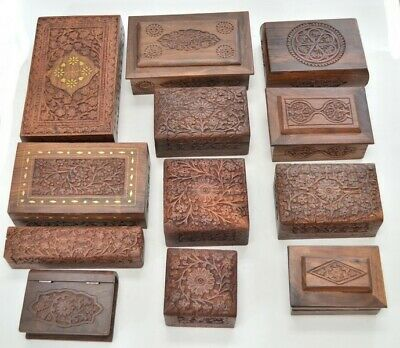 12 Pcs Assort Handmade Carved Wood Boxes #F-239