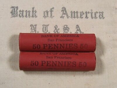(ONE) BoA SF Lincoln Wheat Cent Penny Roll 50 Pennies 1909-1958 P D S