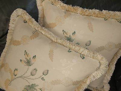 Scalamandre Throw pillow covers Grenada lampas Neutrals floral design new PAIR