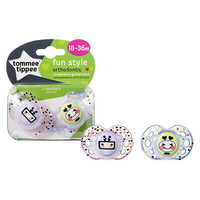 Tommee Tippee  Fun Style soothers Girls/Robots 2 in pack   Age 18-36m  Bpa free