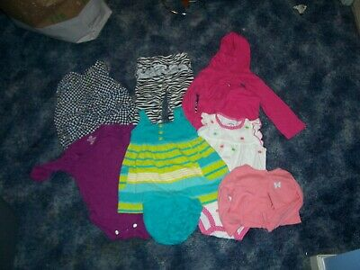 7 pc mixed lot girls size 9 months clothes dress, one pieces, shirts, pants