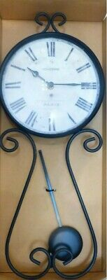 "BLACK METAL WALL CLOCK WITH MOVING PENDULUM approx 20"" DEEP battery operated NEW"