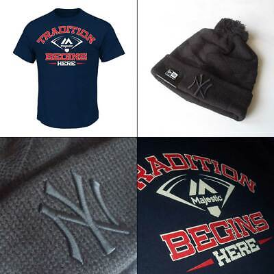 Majestic 'Tradition Begins Here' T shirt PLUS Yankees MLB Black Knit Hat