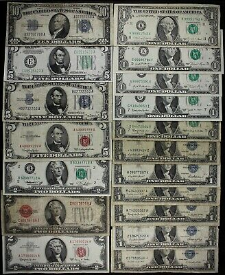 $42 FV old US MONEY $10 $5 $2 $1 FRNs US Notes Silver Certificates Star '28-'88