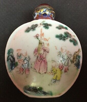 Antique Qianlong 18th Century Chinese Snuff Bottle Ceramic Beautifully Painted