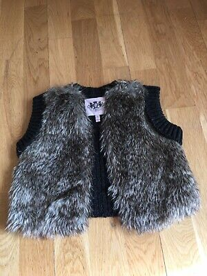 Juicy Couture Gilet Faux Fur Knitted Back Age 2-3 Years XS Designer