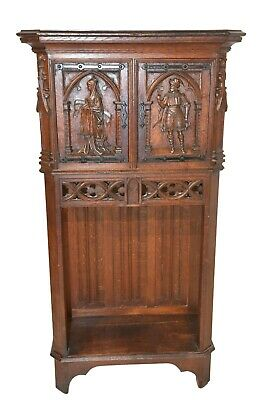 French Gothic Cabinet, Smaller Model, Oak, 19th Century
