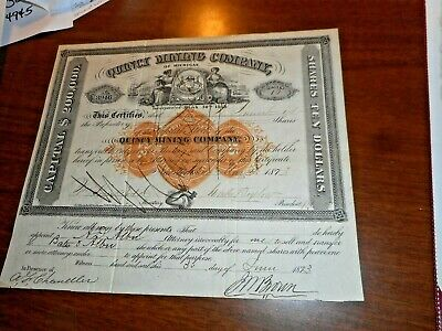 Quincy Mining Company Of Michigan 1873 Stock Certificate