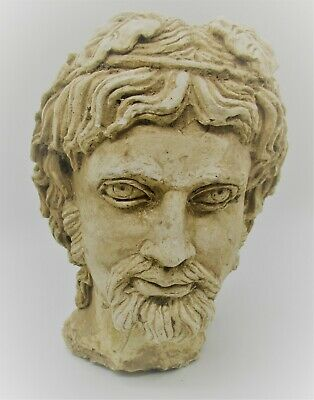 Museum Quality Ancient Greek Terracotta Head Statue Fragment Head Of A God