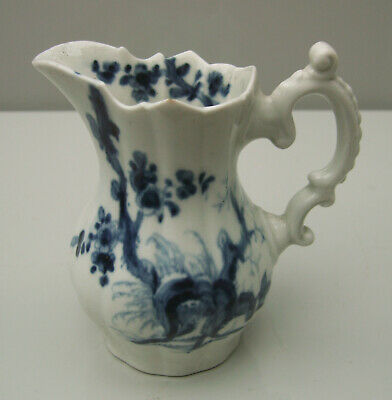 C18th Worcester Dr Wall period faceted cream jug painted prunus root pattern