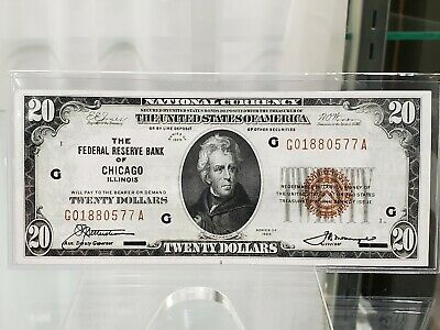 1929 $20 Federal Reserve FRBN Brown Seal Fr#1870G Chicago AU-UNC BEAUTY