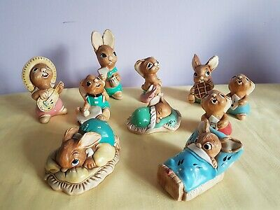 PENDELFIN Vintage Quirky Rabbit Figurines Ornaments Collection of 10 Job Lot
