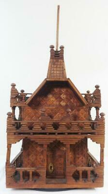 Antique Tramp Art Victorian Style House Various Turned Wood Porches & Much More!