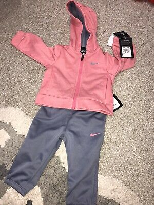 Baby Girls NIKE Hooded Tracksuit Pink 12 Months