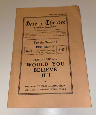 Gaiety Theatre - Douglas - Isle Of Man - Programme - Would You Believe It