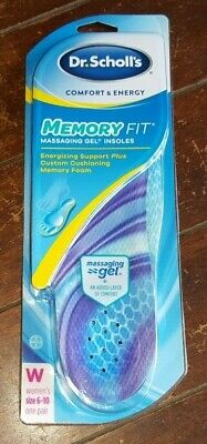 1 Pair of Dr. Scholl's Comfort/Energy MEMORY FIT INSOLES MASSAGING GEL (W 6-10)