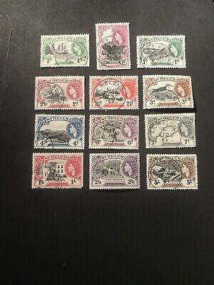 Stamps - Bc Qeii St Helena 1953 Used Vals To 5/- (12) Nice Lot