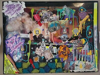 Abstract collage, Art with mixed media, Handmade Decor, Legal Action, billiards