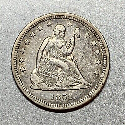 1859 Seated Liberty Quarter. Nice Detail  Key Type Coin
