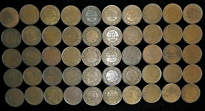 Lot of 50 Canada large cents 1911-1919 Canadian