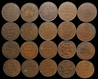 Lot of 20 Canada cents 1902-1910 Canadian