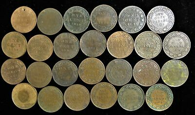 Lot of 26 Canada large cents 1859-1919 Canadian