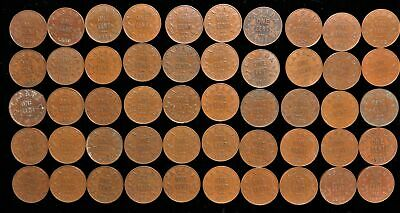 Lot/roll of 50 Canada small cent George V 1921-1936 Canadian